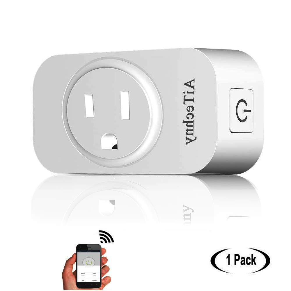 Wi-Fi Smart Plug by AiTechny, Mini Outlet to Control Your Devices from Anywhere with Timing Function, No Hub Required, Compatible with Alexa and Google Assistant (Retangle-1 Pack)