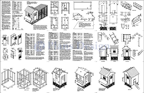 How to Build a Saltbox Chicken Coop with Lean-to Kennel Combo Project Plans, Design 50410LS