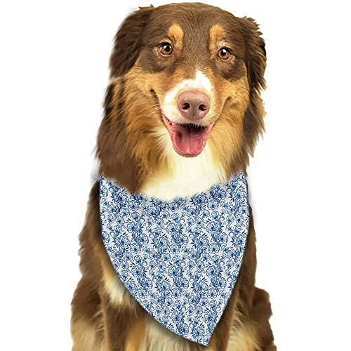 Dog Bandanas,Blue Delicate Spring Season Themed Floral Pattern in Traditional Triangle Bibs Printing Dog Kerchief Set -