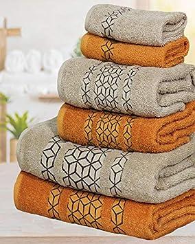 Valentini Crystel Designer Towels 600 Gsm 6 Pcs Bale Towels Set Face Hand Bath/_Brown/_3 Pieces Set