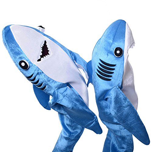 alextreme Shark Costume Kids Adult, Jumpsuit Cosplay Costume Shark Stage Clothing Fancy Dress Halloween Christmas Props -