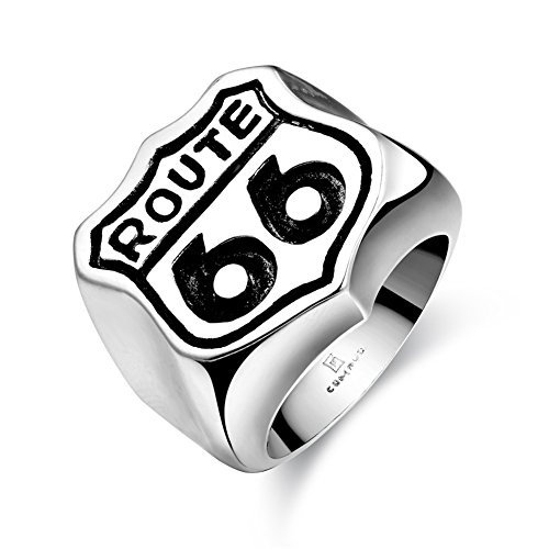 Men Fashionable Unique Stainless Steel Rings Rock Punk Retro Finger Rings ROUTE 66 Pattern Halloween Gift (Route 66 Halloween)