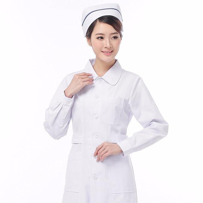 Xuanku Enfermera Doctor Invierno Invierno Blanco De Manga Larga T - Shirt Shop Beauty Medicina Overoles, S, Blanco: Amazon.es: Ropa y accesorios