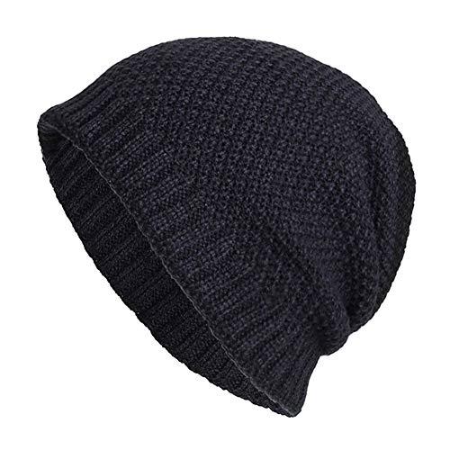 iYBUIA Casual Unisex Warm Baggy Weave Crochet Winter Wool Knit Ski Beanie Skull Caps Hat(Navy,One Size)