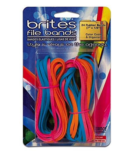 Alliance Rubber 07755 Non-Latex Brites File Bands, Colored Elastic Bands, 24 Pack (7 x 1/8, Assorted Colors)