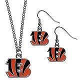 NFL Cincinnati Bengals Dangle Earrings & Chain Necklace Set, Orange