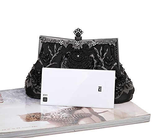 Handheld Handmade Sequined Prom Bag Party Black Elegant Clutch Wedding Evening Handbag Bead Seed xYzHwtIq