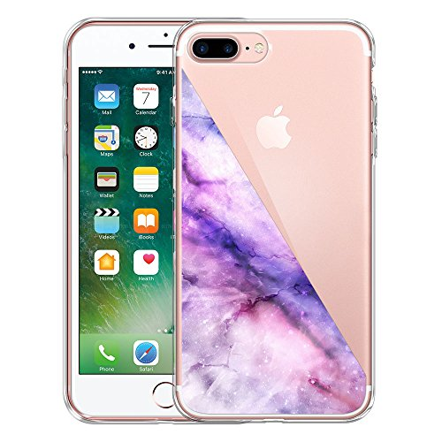 Apple iPhone 7 Plus 2016 / iPhone 8 Plus 2017 5.5 inch Case, FINCIBO Clear Transparent TPU Silicone Protector Cover For Apple iPhone 7 Plus 2016 / iPhone 8 Plus - Marble Half