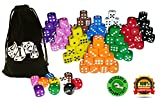 Image of 100 Dice Set, 10 Different Colors, 10 Dice of Each Color, 16mm D6 Dice, FREE Velvet Carry Bag, Great for Games Like: Tenzi, Farkle, Yahtzee, Bunco or Teaching Math