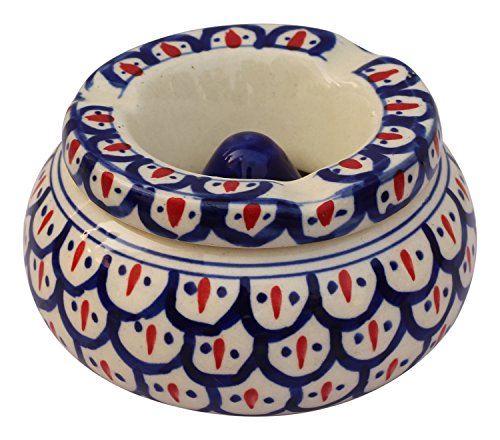 SouvNear Moroccon Handmade Hand Painted Ashtray for Outdoors & Indoors Ceramic Ash Tray with 3 Holder Slots