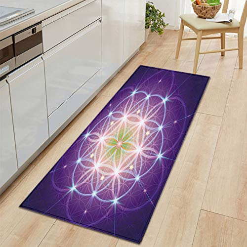 Bold Creative Printing Flannel Carpet Door Carpet Bath mat Kitchen Living Floor mat Super Soft and Cozy Interlace Circles Sign of Cosmos Harmony Folk Modern Living Room and Bedroom Soft Cozy Rug (Comfort Harmony Cozy Cart Cover)