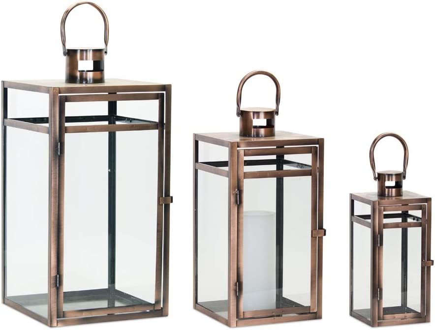 Melrose International Metal and Glass Lantern Set of 3 Cream