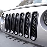 [Upgrade Clip in Version] ICARS Matte Black Mesh Grille Insert Jeep Grille Guard For 2007-2015 Jeep Wrangler JK JKU Unlimited Rubicon Sahara - 7PCS