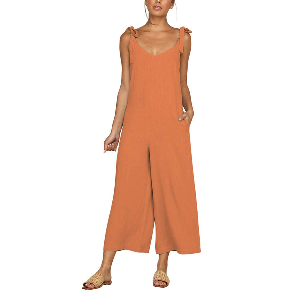 GWshop Ladies Fashion Elegant Jumpsuit Women Jumpsuit Holiday Wide Leg Playsuit Ladies Summer Beach Rompers Orange S