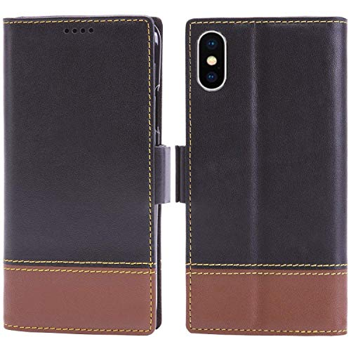 (iPhone Xs Max Wallet Case Leather - iPulse London Series Italian Full Grain Leather Flip Case for Apple iPhone Xs Max (2018) with Magnetic Closure - Black/Brown)