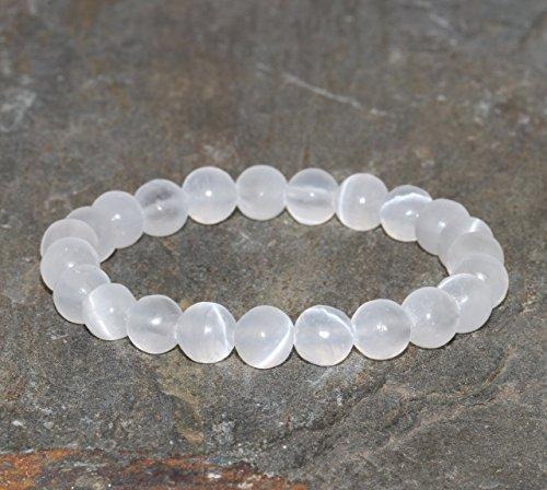 White Calcite Bracelet, Iceland Spar, Optical Calcite, Handmade 8mm Beaded Gemstone Bracelet, White Bracelet, Stacking Bracelet Crystal ()