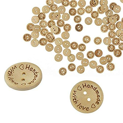 Akak Store 100 Piece Per Pack 25mm 2 Holes With Love Hearts Wood Buttons Sewing Scrapbooking Round Handmade Buttons DIY Decor Craft