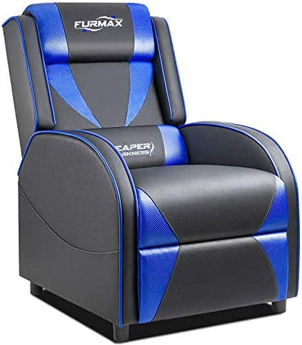 Furmax Gaming Recliner Chair Racing Style Single Ergonomic Lounge Sofa PU Leather Reclining Home Theater Seat for Living Room Blue