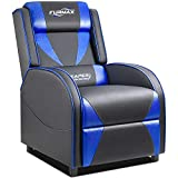 Furmax Gaming Recliner Chair Racing Style Single Ergonomic Lounge Sofa PU Leather Reclining Home Theater Seat for Living Room (Blue)