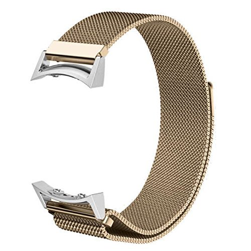 Aobiny Smart Watch Band, Milanese Magnetic Loop Stainless Steel Band+Connector For Samsung Gear S2 720 (Gold)