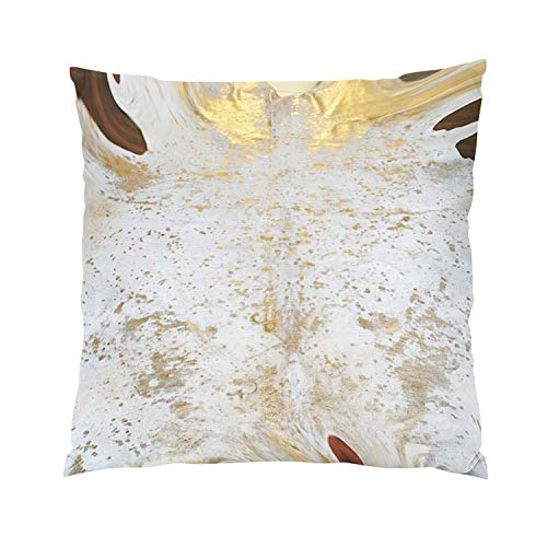 Wesbin Spotted Gold and White Cowhide Leather Fancy Hidden Zipper Home Sofa Decorative Throw Pillow Cover Cushion Case Inch 16x16 Square Two Sides Design Printed ()