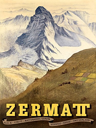 Zermatt Ski Skiing Winter Sport Suisse Switzerland Travel Vintage Poster Repro 12