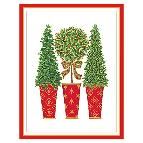 Caspari Topiaries Large Embossed Boxed Christmas Cards - 10 Cards & 10 Envelopes (Topiary Card)