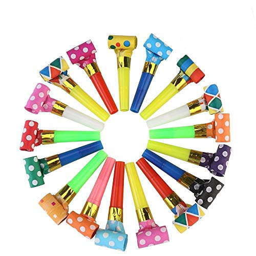 Koogel Party Blower,100 Pcs Multicolor Musical Blowouts, Birthday Party Favors, New Years Party Noisemakers ,Party Blowouts Whistles, Party Blowouts, Fun Party Favors -
