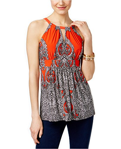 INC International Concepts Women's Empire-Waist Halter Top (Large, Medusa Paisley (Paisley Empire Shirt)