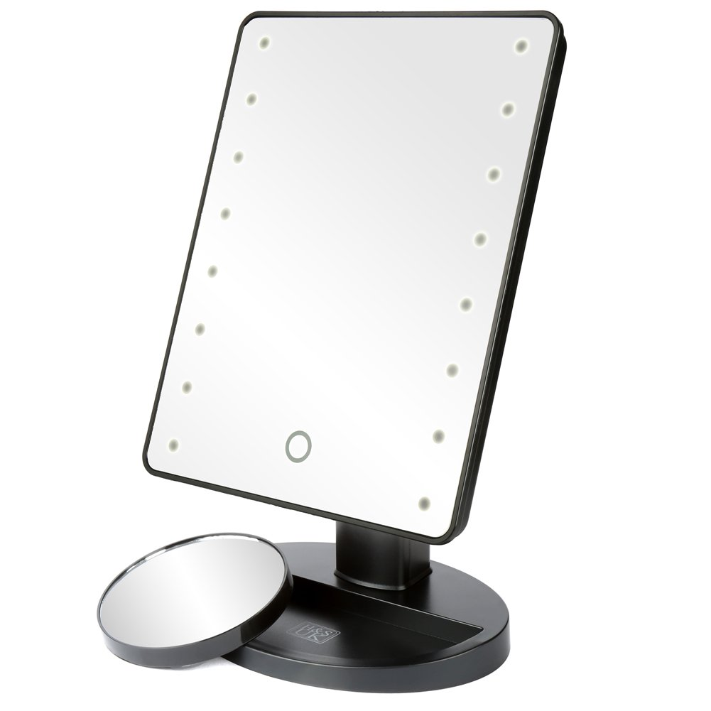 H&S Makeup Mirror with Light/LED Light Up Mirror/Vanity Mirror with Lights / 10X Magnifying Round Make Up Mirror LED Lighted Illuminated Cosmetic Mirror with Lights Desk Free Standing Portable H and S Alliance UK Ltd