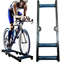 AccelaVelo Pro-X Composite Indoor Bike Roller Trainer - Will Not Rust Or Deform Like Metal - Double Hinged Frame Folds Down Flat - 5 Year Warranty