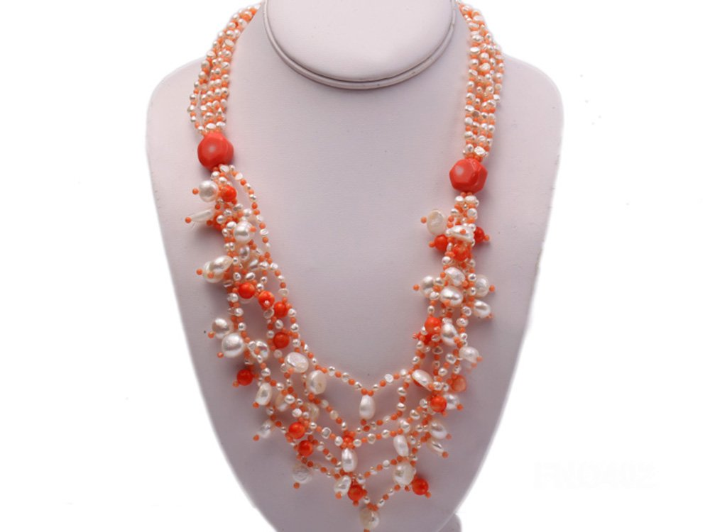 JYX 4mm Natural White Round Freshwater Pearl with Pink Coral Opera Necklace