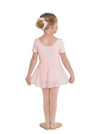 Kinder Ballettanzug aus Baumwolle, Kurzarm, mit langem Voile-Röckchen