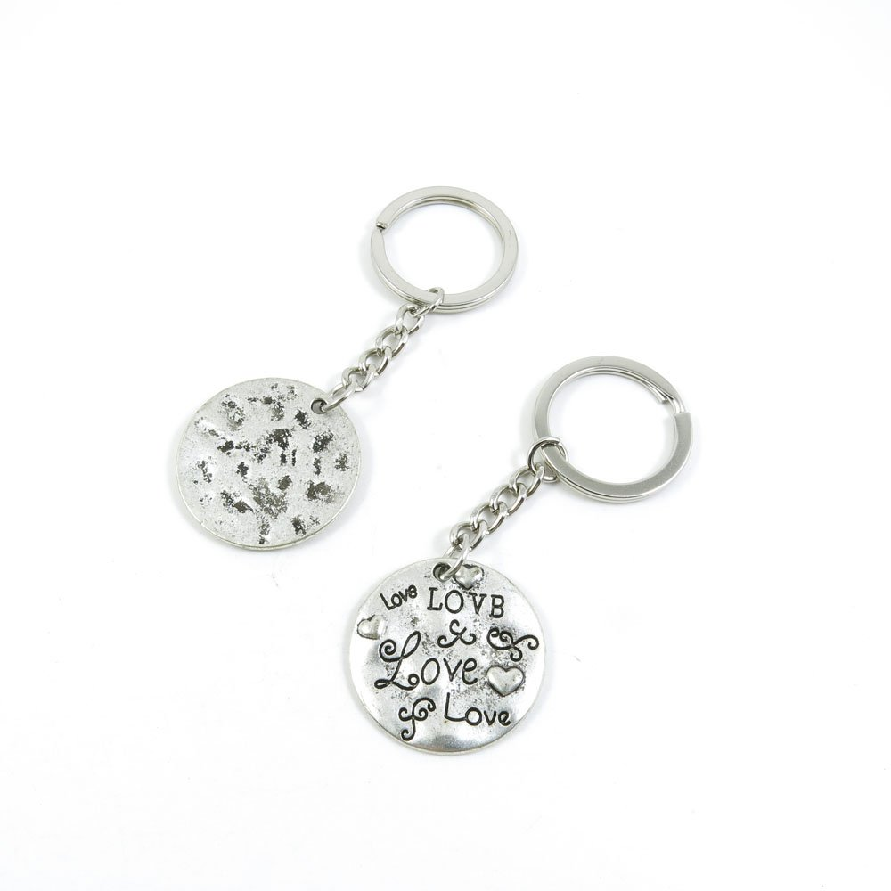 100 Pieces Keychain Door Car Key Chain Tags Keyring Ring Chain Keychain Supplies Antique Silver Tone Wholesale Bulk Lots K5DP8 Love Signs