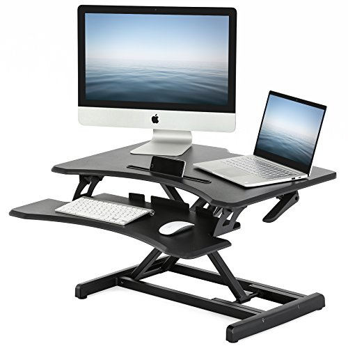 FITUEYES Height Adjustable Standing Desk Converter Sit Stand up Riser 32'' Tabletop Workstation with Removable Keyboard Tray fits Dual Monitor SD308001WB by FITÜEYES