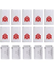 10 Pcs KEEPOW FJM AirClean 3D Efficiency Bags for Miele Canisters Vacuum Compact C1 C2, with 5 Filters