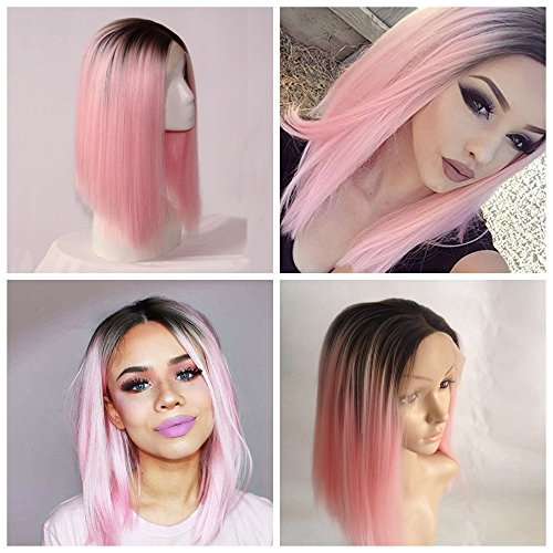 Cupidlovehair Black Ombre Pink Straight Short Bob Synthetic Lace Front Wigs 12inch (Short Pink Wig)
