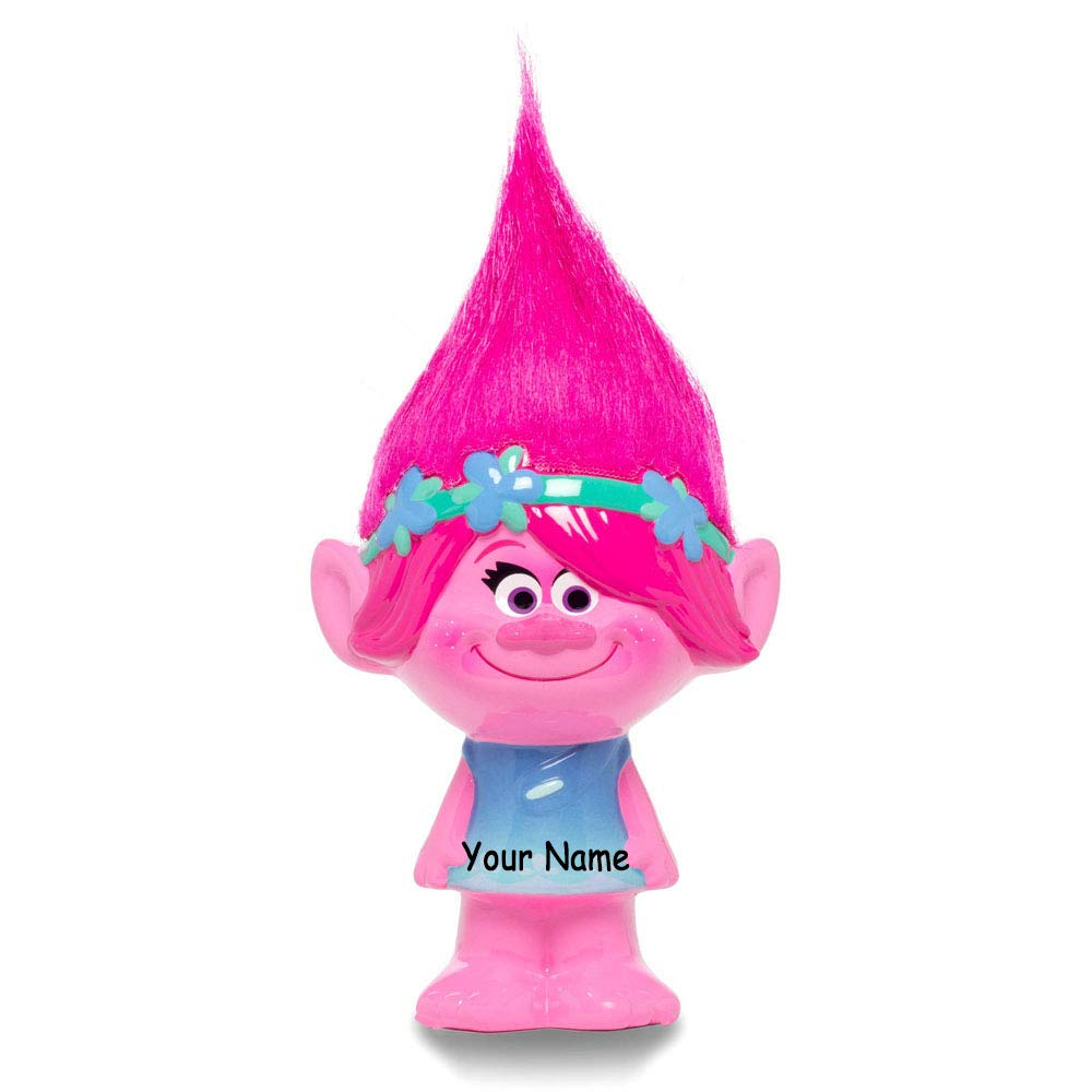 FABNY Personalized Trolls Princess Poppy Ceramic Piggy Bank Coin Bank with Custom Name