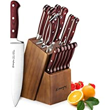 Knife Set, 15-Piece Kitchen Knife Set with Block Wooden, Self Sharpening for Chef Knife Set, German Stainless Steel