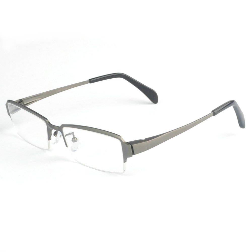 MINCL/Pure Titanium Half Rimless Business Glasses Frame Eyeglasses (gun, 2.13)