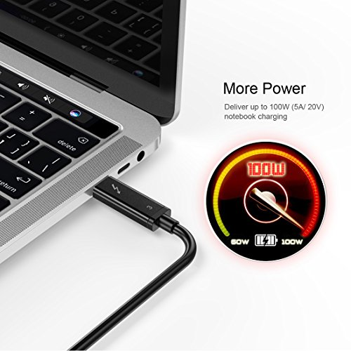 [CERTIFIED]CHOETECH Thunderbolt 3 Cable (2M/6.5FT)–ACTIVE 40Gbps/100W Charging/5A,20V/Support a 5K UHD Display for 2016-2017 Macbook Pro, LG 5K UltraFine Display (Thunderbolt 3 Device Compatible Only) by CHOETECH (Image #2)