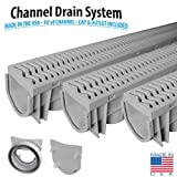 Source 1 Drainage 3-Pack Trench & Driveway Channel Drain System With Grates