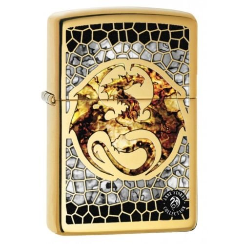 Zippo Custom Lighter - Ann Stokes Artist Dragon w/ Scales Design High Polish Brass