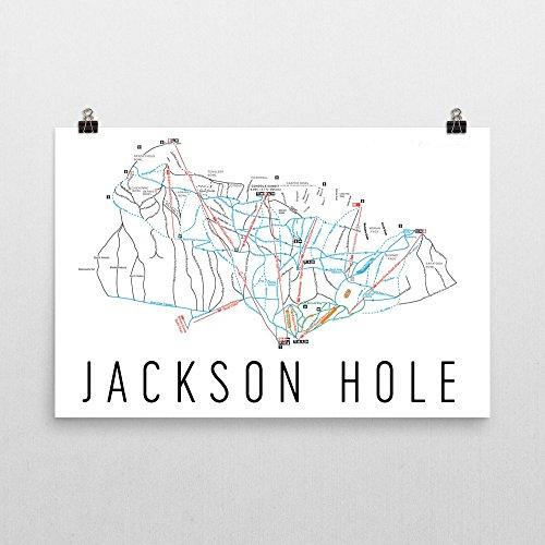 Jackson Hole Poster, Jackson Hole Ski Resort Poster, Jackson Hole Art Print, Jackson Hole Trail Map, Jackson Hole Trail Map Art, Jackson Hole Colorado Decorative Map, (24