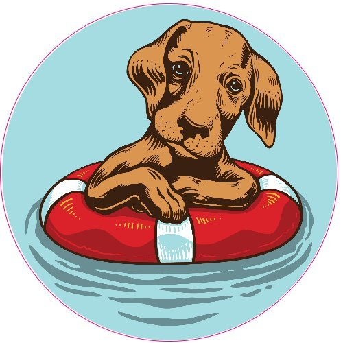 U.S. Custom Stickers Dog with Life Buoy Color Sticker, 7""