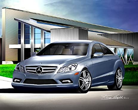 2010 MERCEDES BENZ E550 COUPE Quartz Blue Metallic   CAR ART PRINT POSTER   SIZE 14x18