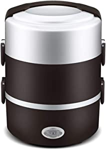LIUOFHUA 3 Layer Portable Lunch Box Mini Electric Rice Cooker Steamer Meal Thermal Heating Automatic Food Container Warmer Cooking Pot 2L- brown