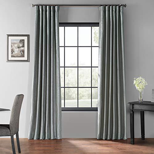 PDCH-KBS7BO-96 Blackout Vintage Textured Faux Dupioni Curtain, Storm Grey, 50 X 96