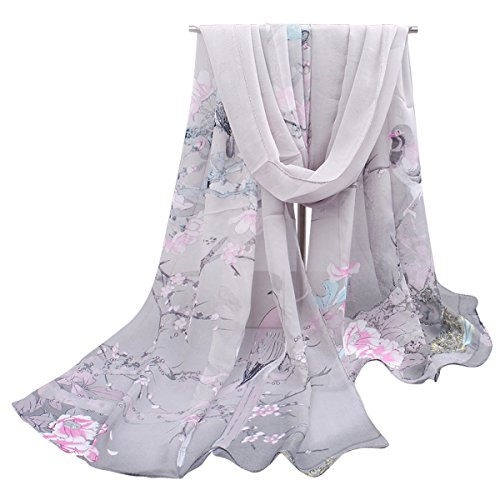 Herebuy - Unique Women's Floral Scarves: Chiffon Flowers & Birds Printed Scarf (Pink&Gray)