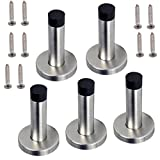 Sumnacon 5 pcs Contemporary Safety Stainless Steel Door Stopper With Sound Dampening Rubber Bumper - Wall Mount Door Holder with Hardware Screws, Brushed Finish, 3.5 Inch in Height